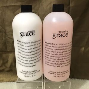 Philosophy AMAZING GRACE Shampoo Shower Gel & Firming Body Lotion 32 oz. NO PUMP