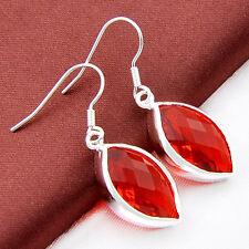 Gorgeous Horse Eye Fire Red Garnet Gemstone Silver Dangle Hook Drop Earrings New