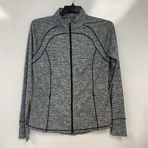 Ideology Womens Heather Black Gray Full Zip Running Jacket Size L $24 NwoT