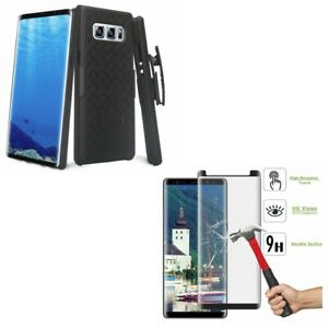 Galaxy Note 8 Hard Case Belt Clip Holster w Tempered Glass Screen Protector 5D