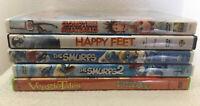 Lot Of 5 Kids DVD Movies Veggie Tales, Cloudy W/Meatballs, Happy Feet, Smurfs1&2