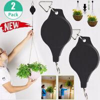 2pcs Retractable Pulley Hanging Basket Pull Down Hanger Garden Plant Flower Hook