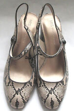 M & S COLLECTION LADIES SNAKE PRINT SLINGBACK SHOES BLOCK HEEL SIZE 8  NEW