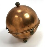 Vtg Round Copper Tea or Coffee pot cozy footed Brass MCM insulated hinged atomic