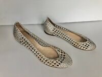 WITCHERY Womens Silver Leather Woven Flat Shoes - Size 38