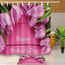 Happy Mother's Day Pink Tulips Shower Curtain Home Bathroom Fabric & 12hooks