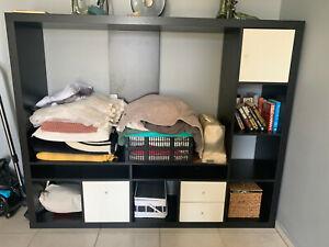 Ikea TV Phono Schrankwand mit Schubladen schwarz/braun Weiß