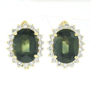 Estate 14K Gold 8.18ctw GIA NO HEAT Oval Green Sapphire & Diamond Halo Earrings