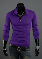 Men Slim Fit T-shirt Long Sleeve Casual Tops Shirt Polo Rugby Shirt Cotton M-3XL