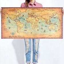 Vintage World Map Wall Sticker Retro Poster Living Room Art Crafts World Maps
