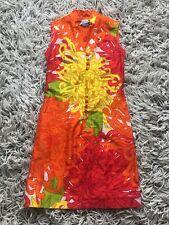 VTG Hawaiian Shift Dress Mod 60's Pink Orange Luau XS S