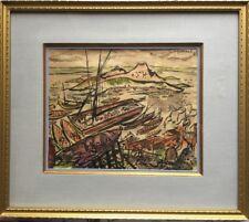 Stephen LONGSTREET 1907-2002.Jonques en mer de Chine.1938.Aquarelle.SHD.20x25.
