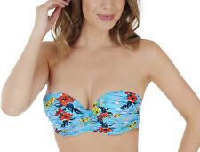 Lepel Le167964 Swimwear Aloha MOULDED Bandeau Bikini Top in Blue Multi 32 DD