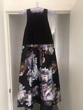 City Chic Plus Size S 16 Dress Black Sleeveless Purple Floral Full Formal
