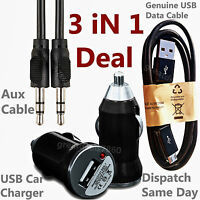 3 in 1 Aux Cable Car Charger & Genuine USB Cable For Samsung Galaxy S2 S3 S4 S5