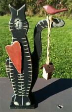 Wood Cat Folk Art Figurine Bird Birdhouse Humor Heart Rustic Trick Whimsical