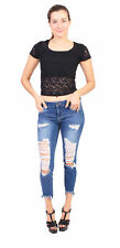 Cello Jeans Cropped Skinny Jeans With Heavy Distressed and Fray WV75236DKSH