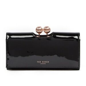 NWT New TED BAKER LONDON Felicee Bobble Wallet Clutch Black Patent Rose Gold