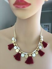Abercrombie & Fitch Gold and Silver Tone Necklace with Maroon Tassels EUC