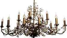 Lustre Evita marron 15-flammig 120x70cm métal cristaux feuilles Neuf