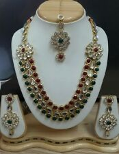 Designer Antique Gold Plated DIAMOND&KUNDAN Necklace EARINGS TIKA Jewellery Set