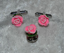 Handmade Pink Rose Silver French Cufflinks Tie Tack Set Breast Cancer Awareness