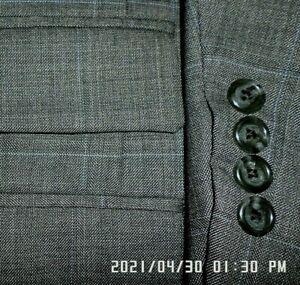 TOM JAMES mens suit DARK GRAY w/ BLUE WINDOWPANE PLEAT FRONT 46L 46 e56 - MINT