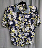 New Look Burron-Up Shirt, Women's, Size Large, Hawaiian, Floral, Blue/White/Tan
