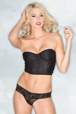 sexy BE WICKED lace UNDERWIRED strapless tube BUSTIER thong PANTY lingerie set