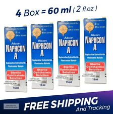 4 x Naphcon A Eye Drops 15 mL (0.5 oz) Redness Itchy Allergy Relief Exp:10/2021