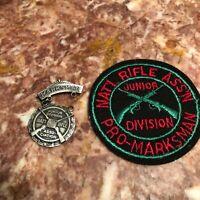 VINTAGE NRA NATIONAL RIFLE ASSOCIATION MARKSMAN JR DIV. MEDAL & PATCH