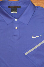 TIGER WOODS COLLECTION NIKE GOLF DRIFIT POLO SHIRT BLUE STRETCH METAL SNAPS M