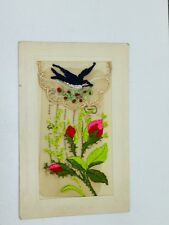Vintage Postcard Happy New Year France Embroidered 23843