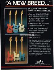 1983 G&L SC Electric Guitars, SB Bass Red White Blue Vtg Print Ad
