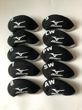 10Pcs Golf Iron Headcovers for Mizuno Club Covers Black&Black 4-Lw Universal