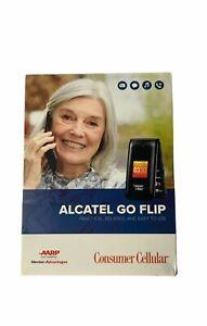 NIB Alcatel Go Flip 4044L - 4G LTE Classic Flip Phone Consumer Cellular