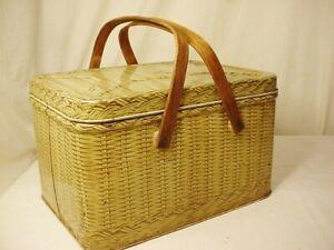 Vtg Decoware Tin Picnic Basket Brown Wood Handles Hinged Lid Metal Container