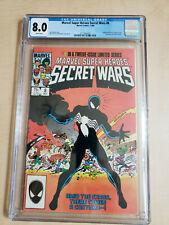 MARVEL SUPER HEROES SECRET WARS #8 CGC 8.0 SPIDER-MAN WHITE PAGES Venom