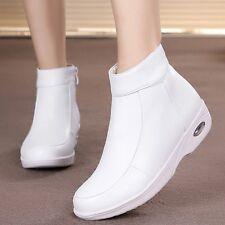 Womens Nursing Leather Warm Fur Lined Work Boots Nurse Hospital Shoes High Top