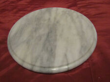 "MARBLE 12"" Round Lazy Susan Turntable Board Serving Plate White w/Gray"