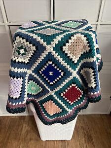 "New Large Handmade Crochet Granny Square Blanket/Throw Vintage Retro Style 44"""