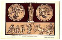 1898 Thorvaldsen, sculpture, bas-relief ...Antique lithograph print