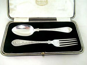 Solid Silver  BOXED CHRISTENING SPOON & FORK  Hallmarked:-LONDON 1878 &1900
