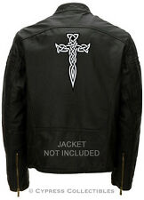 LARGE CELTIC CROSS DAGGER BIKER PATCH IRISH EMBROIDERED Religious WHITE iron-on