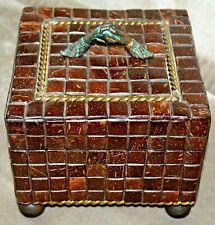 Maitland Smith tile Wood Brass Bronze Handshake Handle Decorative Box