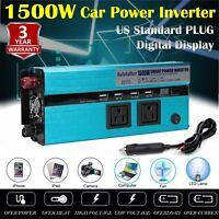 1500W/3000 Watt PEAK Power Inverter 12V DC to 110V AC Adapter Charger Supply USA