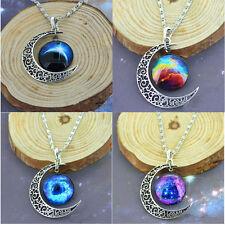 Mujeres Galactic Cabujón De Cristal Colgante Tono Plateado Creciente Collar Luna