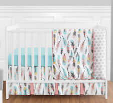 Sweet Jojo Bumperless Coral Aqua Gray Gold Feather Girl Baby 4p Crib Bedding Set
