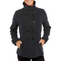 Fresh New York Women's Gray Double Breasted Faux Wool Peacoat w/Stand Collar 3X