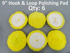 "Qty: 6 Wool Blend 9"" Polishing Compound Cutting Clean Tech Buffing Pad Hook Loop"